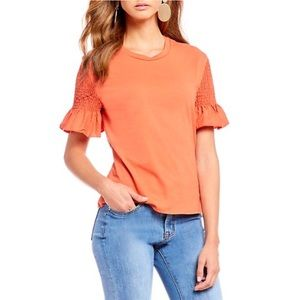 Gianni Bini dark coral blouse with accent sleeves